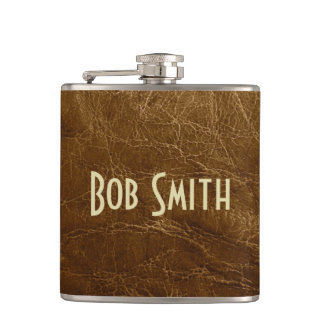 Worn Brown Leather Hip Flask