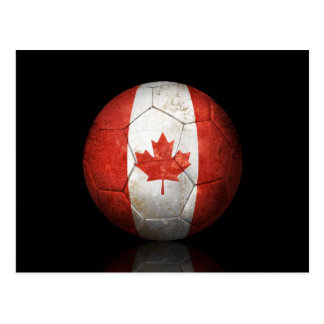 Worn Canadian Flag Football Soccer Ball Postcard