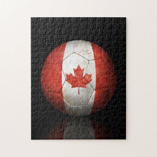 Worn Canadian Flag Football Soccer Ball Jigsaw Puzzles
