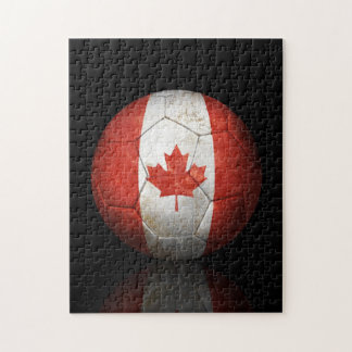 Worn Canadian Flag Football Soccer Ball Puzzles