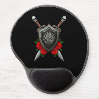 Worn Circular Chinese Dragon Shield and Swords Gel Mousepads