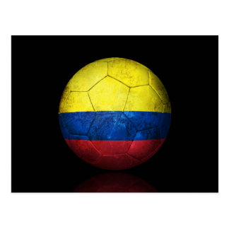 Worn Colombian Flag Football Soccer Ball Postcard