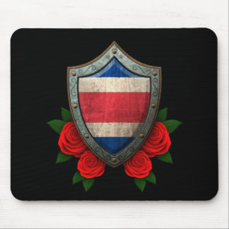 Worn Costa Rica Flag Shield with Red Roses Mousepads