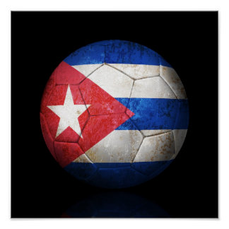 Worn Cuban Flag Football Soccer Ball Poster