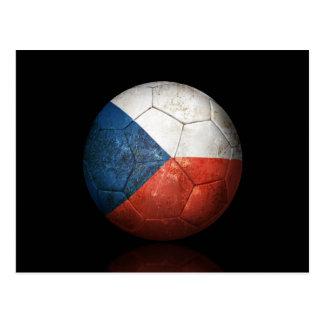 Worn Czech Republic Flag Football Soccer Ball Postcard