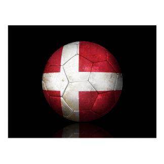 Worn Danish Flag Football Soccer Ball Postcard