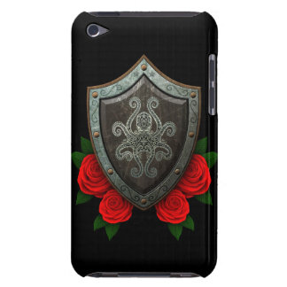 Worn Decorated Octopus Shield with Red Roses iPod Case-Mate Case