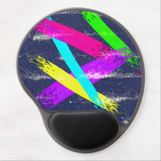 Worn Denim/colorful paint strokes pattern Gel Mouse Pad