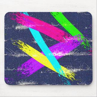 Worn Denim/colorful paintstrokes pattern mouse pad
