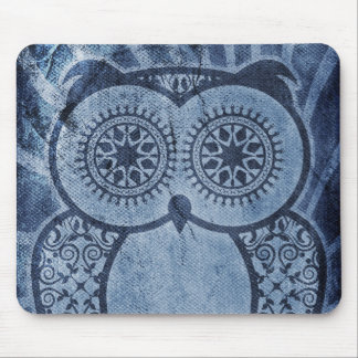 Worn Denim Hootie Owl Mouse Pad