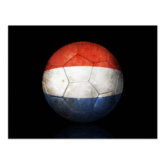 Worn Dutch Flag Football Soccer Ball Postcard