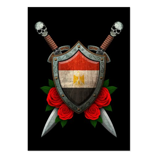 Worn Egyptian Flag Shield and Swords with Roses Business Card Template