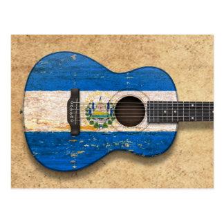 Worn El Salvador Flag Acoustic Guitar Postcard