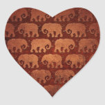 Worn Elephant Silhouettes Pattern, reddish brown Heart Sticker