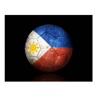 Worn Filipino Flag Football Soccer Ball Postcard