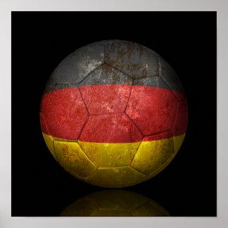 Worn German Flag Football Soccer Ball Poster