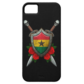 Worn Ghana Flag Shield and Swords with Roses iPhone 5 Cases