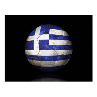 Worn Greek Flag Football Soccer Ball Postcard