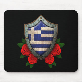 Worn Greek Flag Shield with Red Roses Mouse Pad