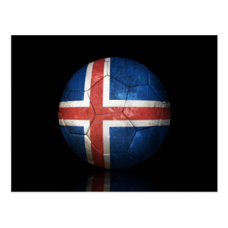 Worn Icelandic Flag Football Soccer Ball Postcard