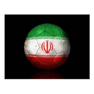 Worn Iranian Flag Football Soccer Ball Postcard