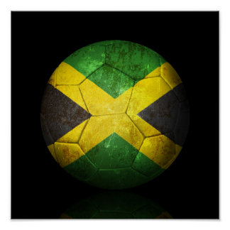 Worn Jamaican Flag Football Soccer Ball Poster