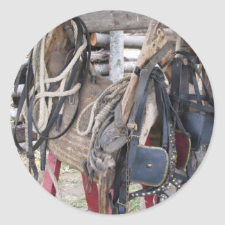 Worn leather horse bridles and bits classic round sticker