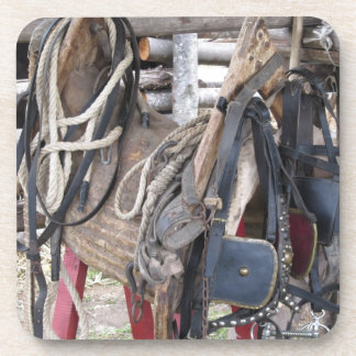 Worn leather horse bridles and bits coaster