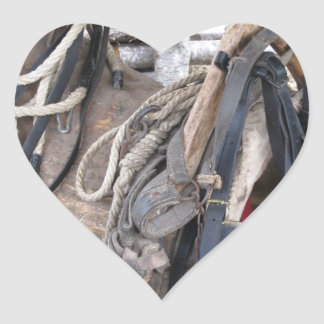 Worn leather horse bridles and bits heart sticker