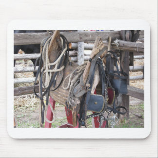 Worn leather horse bridles and bits mouse pad