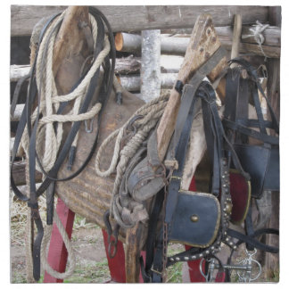 Worn leather horse bridles and bits napkin