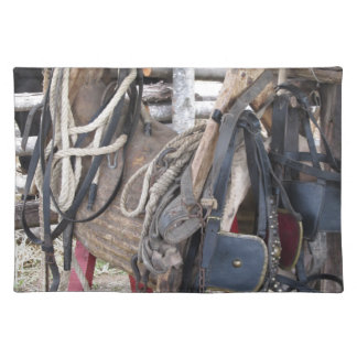 Worn leather horse bridles and bits placemat