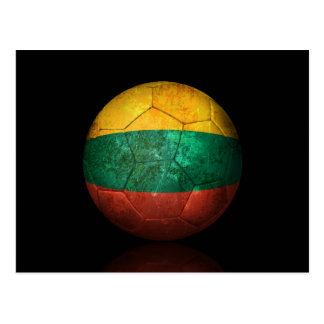 Worn Lithuanian Flag Football Soccer Ball Postcard