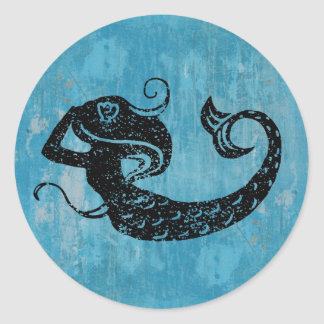 Worn Mermaid Classic Round Sticker