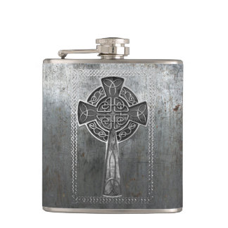 Worn Metal Cross Hip Flask