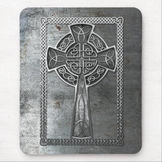 Worn Metal Cross Mouse Pad