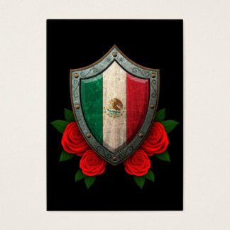 Worn Mexican Flag Shield with Red Roses Business Card