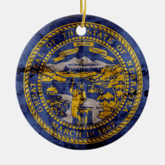 Worn Nebraska Flag; Ceramic Ornament