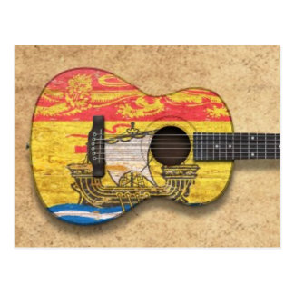 Worn New Brunswick Flag Acoustic Guitar Postcard