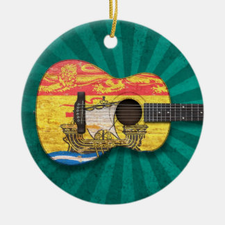 Worn New Brunswick Flag Acoustic Guitar, teal Ceramic Ornament