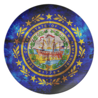 Worn New Hampshire Flag; Party Plate