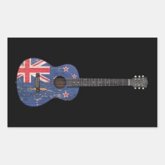 Worn New Zealand Flag Acoustic Guitar, black Sticker