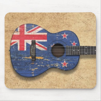 Worn New Zealand Flag Acoustic Guitar Mouse Pad
