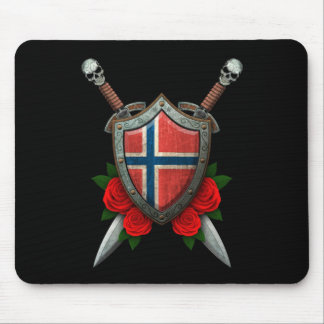 Worn Norwegian Flag Shield and Swords with Roses Mouse Pad