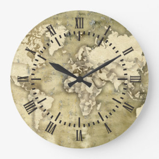 Worn Paper World Map Large Clock