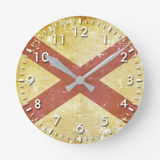 Worn Patriotic Alabama State Flag Round Clock