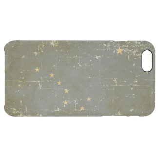 Worn Patriotic Alaska State Flag Clear iPhone 6 Plus Case