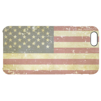 Worn Patriotic American Flag Clear iPhone 6 Plus Case