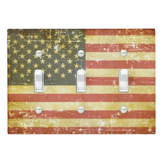 Worn Patriotic American Flag Light Switch Cover