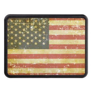Worn Patriotic American Flag Trailer Hitch Cover